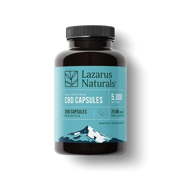 Lazarus Naturals, 25mg Full Spectrum CBD Capsules, 200 capsules, 5000mg of CBD