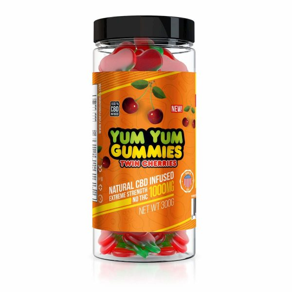 Yum Yum Gummies, CBD Gummies, Twin Cherries, 300g, 1000mg of CBD