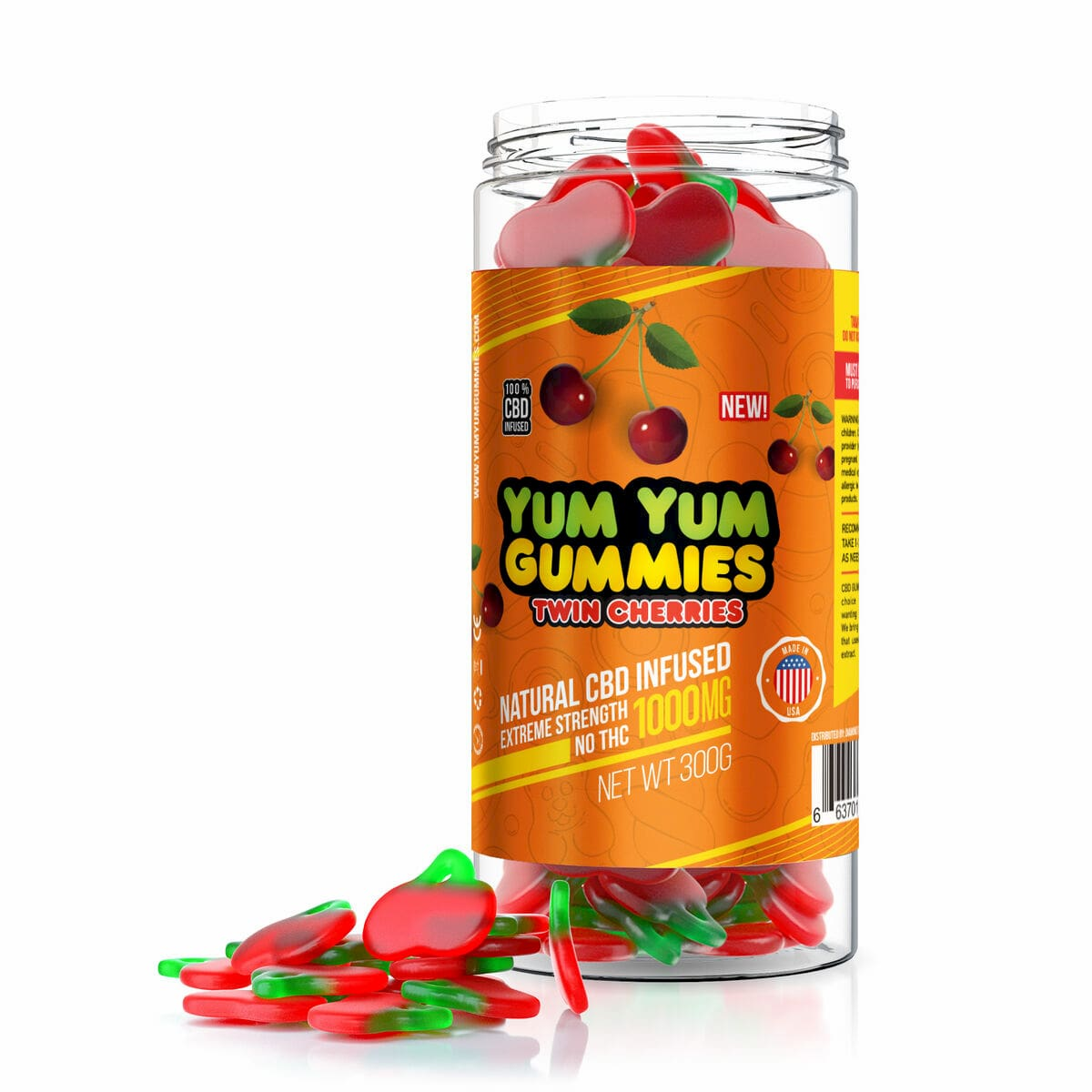 Yum Yum Gummies, CBD Gummies, Twin Cherries, 300g, 1000mg of CBD2 (1)