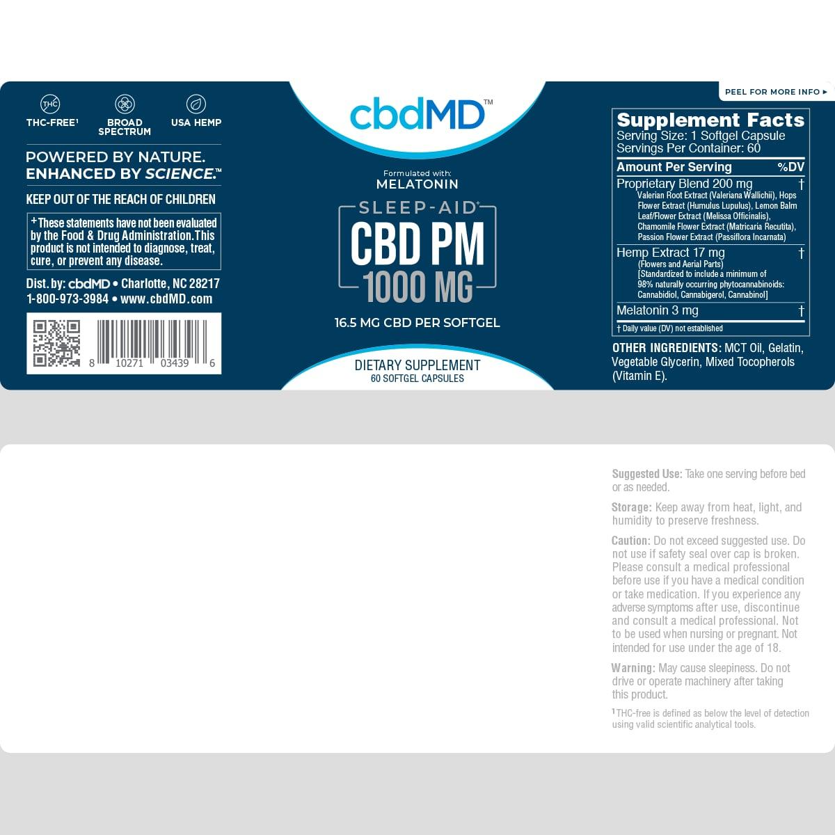 cbdMD, CBD PM Softgel Melatonin Capsules, Broad Spectrum THC-Free, 60-Count, 1000mg of CBD2