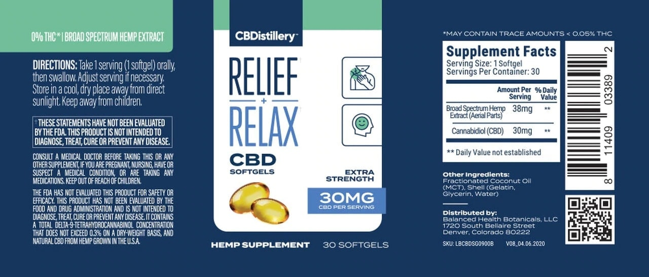 CBDistillery, Broad Spectrum CBD Softgels, THC-Free, 30-Count, 900mg of CBD3