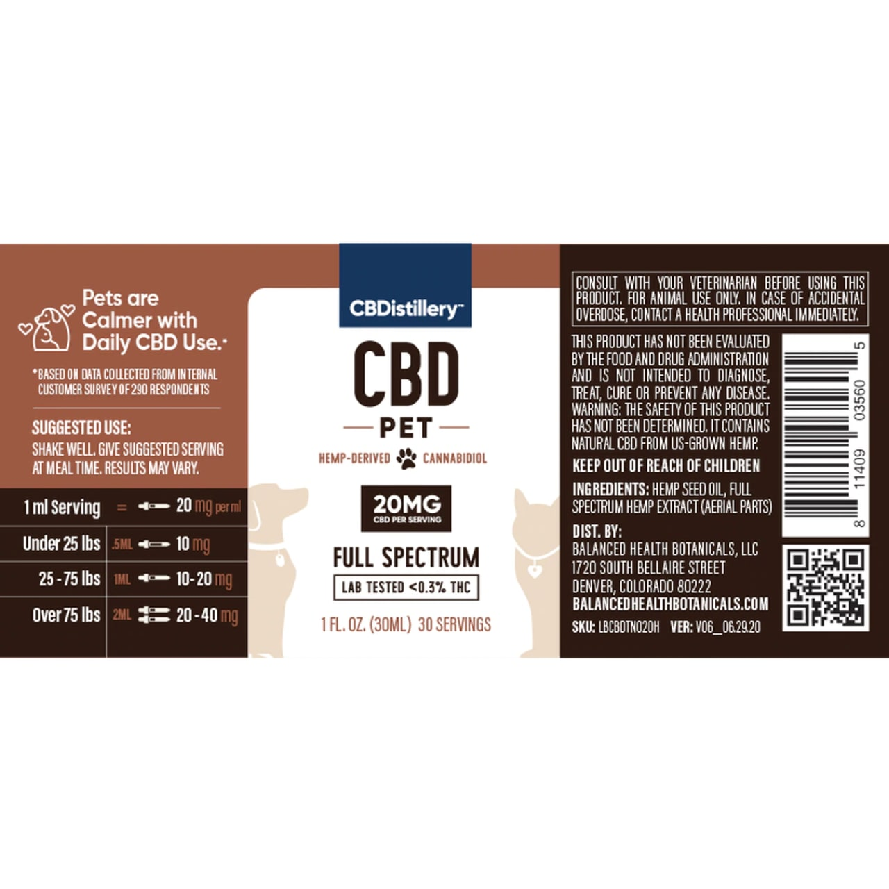 CBDistillery, CBD Pet Tincture, Full Spectrum, 1oz, 600mg of CBD2