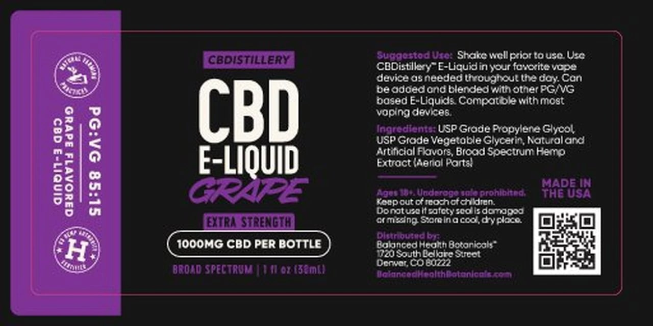 CBDistillery, Extra Strength Broad Spectrum CBD E-Liquid, Grape, THC-Free, 1000mg of CBD2