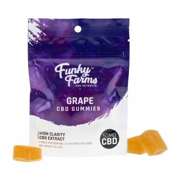 Funky Farms, CBD Grape Gummies, Isolate THC-Free, 5-Count, 50mg of CBD