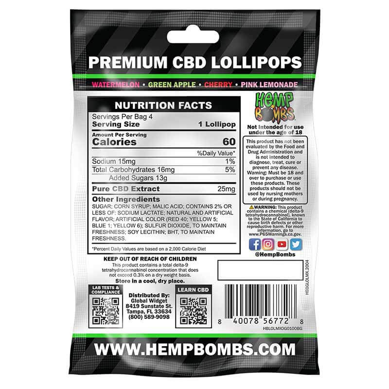 Hemp Bombs, CBD Lolly Bombs, 4-Count, 100mg of CBD2