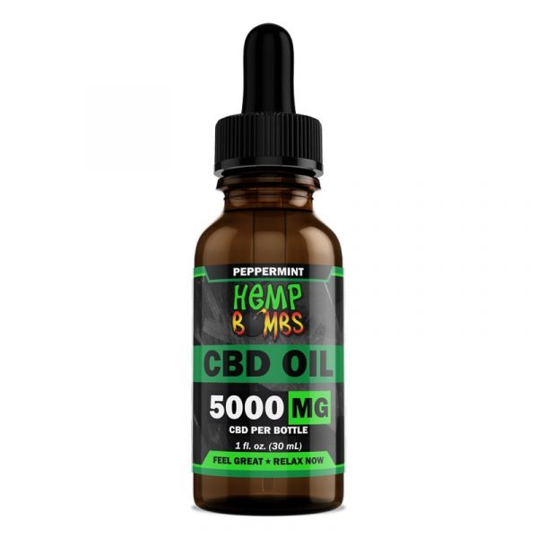 Hemp Bombs, CBD Oil, Full Spectrum, Peppermint, 1oz, 5000mg of CBD