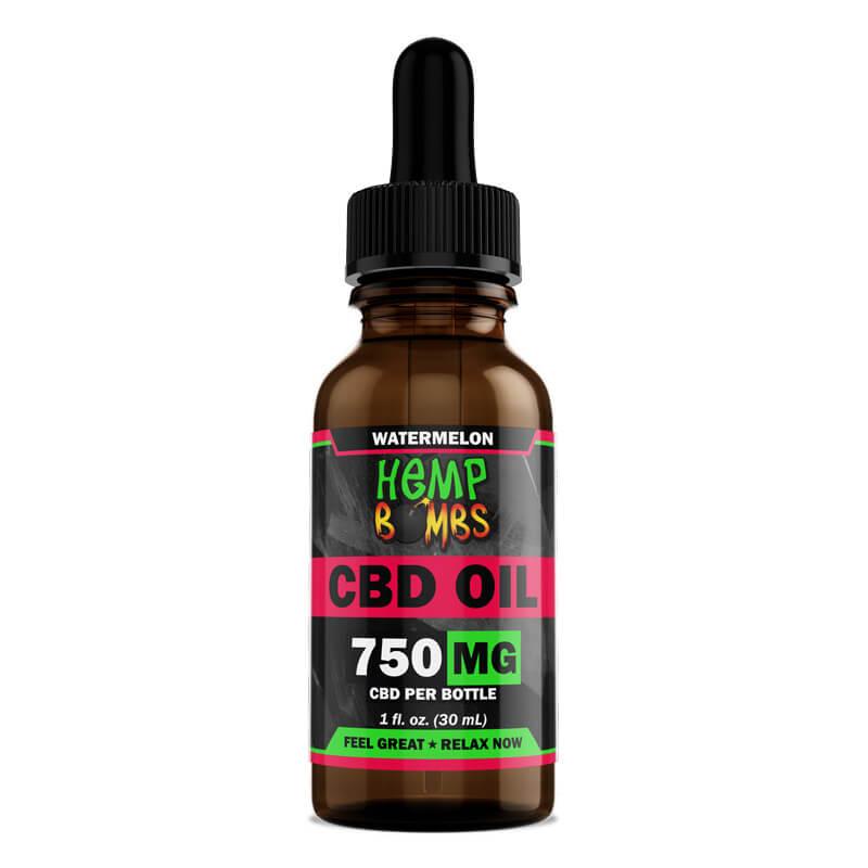 Hemp Bombs, CBD Oil, Full Spectrum, Watermelon, 1oz, 750mg of CBD