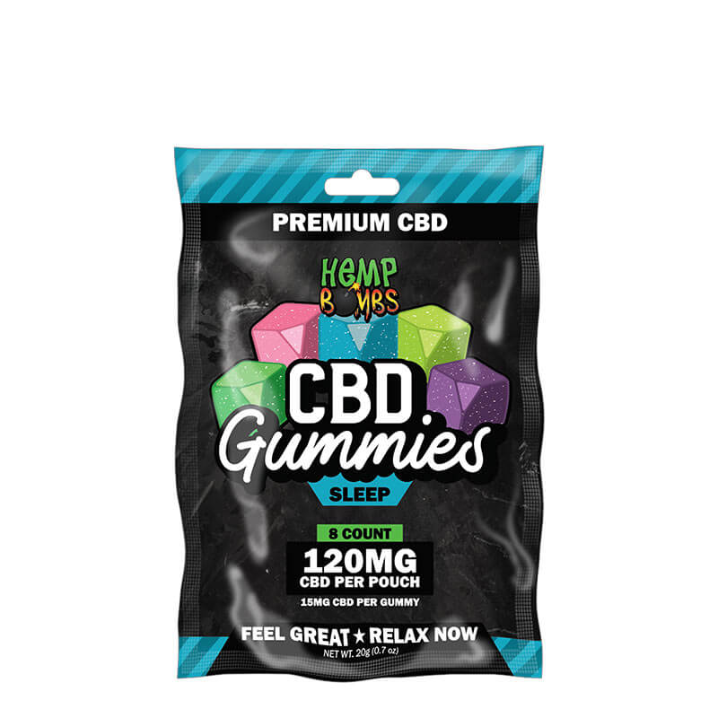 Hemp Bombs, CBD Sleep Gummies with Melatonin, 8-Count, 120mg of CBD