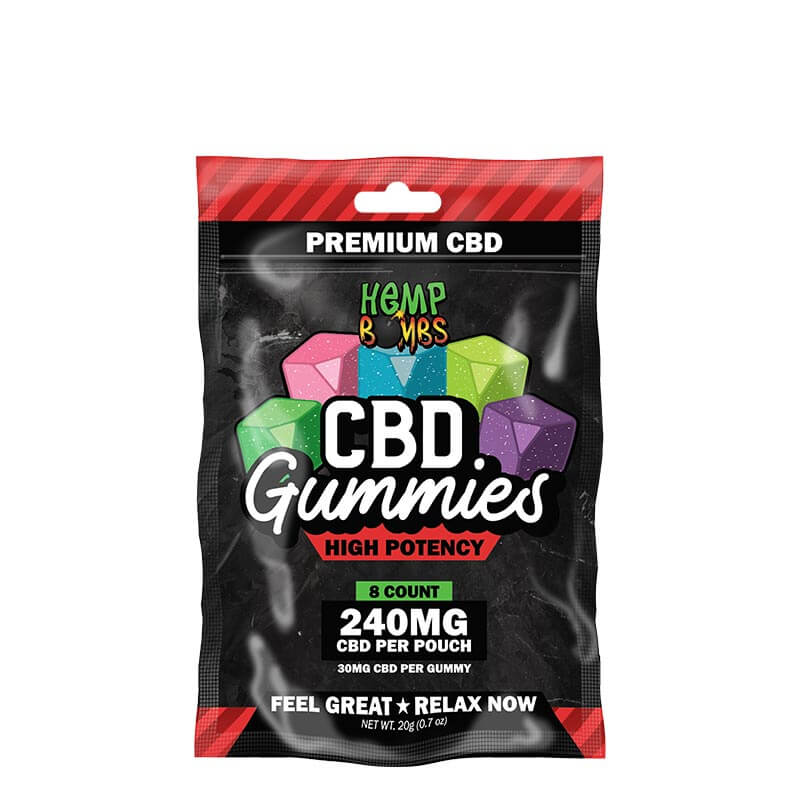 Hemp Bombs, High Potency CBD Gummies, 8-Count, 240mg of CBD