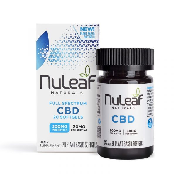 NuLeaf Naturals, Full Spectrum Hemp CBD Capsules, Full Spectrum, 20 Softgels, 300mg of CBD