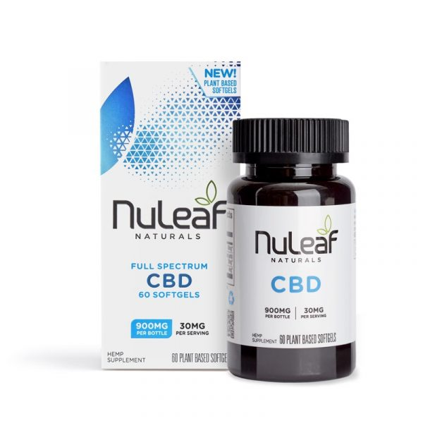 NuLeaf Naturals, Full Spectrum Hemp CBD Capsules, Full Spectrum, 60 Softgels, 900mg of CBD