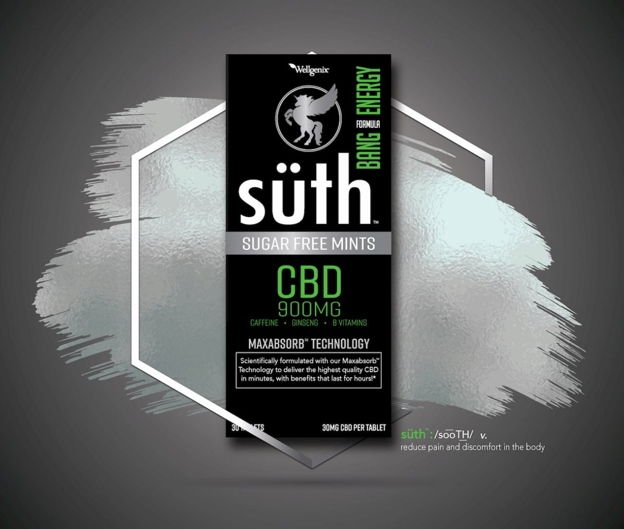 Suth, CBD Sublingual Mints, Bang Energy with Caffeine, 30 Count, 900mg of CBD2