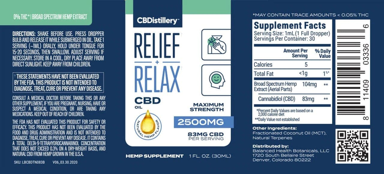 CBDistillery, Broad Spectrum CBD Oil Tincture, THC-Free, 1oz, 2500mg of CBD4