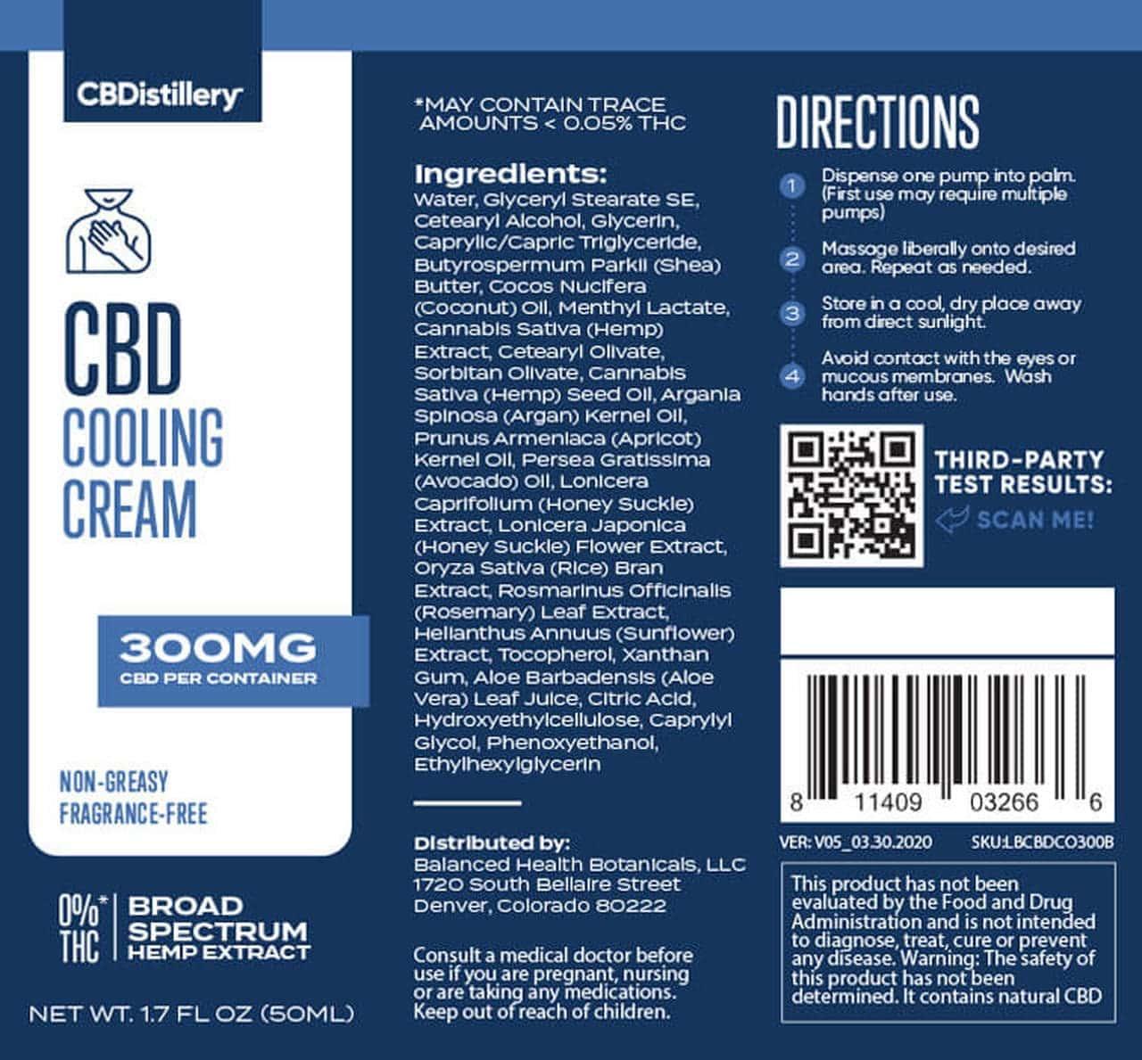 CBDistillery, CBD Cooling Cream, Broad Spectrum THC-Free, 300mg of CBD3