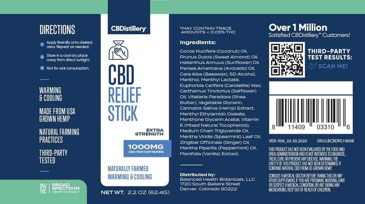 CBDistillery, CBD Relief Stick, Broad Spectrum THC-Free, 1000mg of CBD3