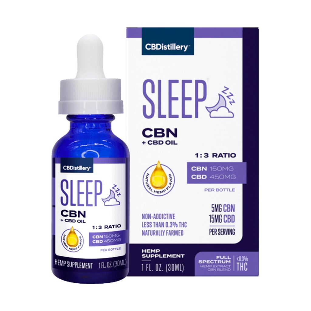 CBDistillery, CBN + CBD Sleep Tincture 1-3, Full Spectrum, 1oz, 150mg CBN and 450mg CBD