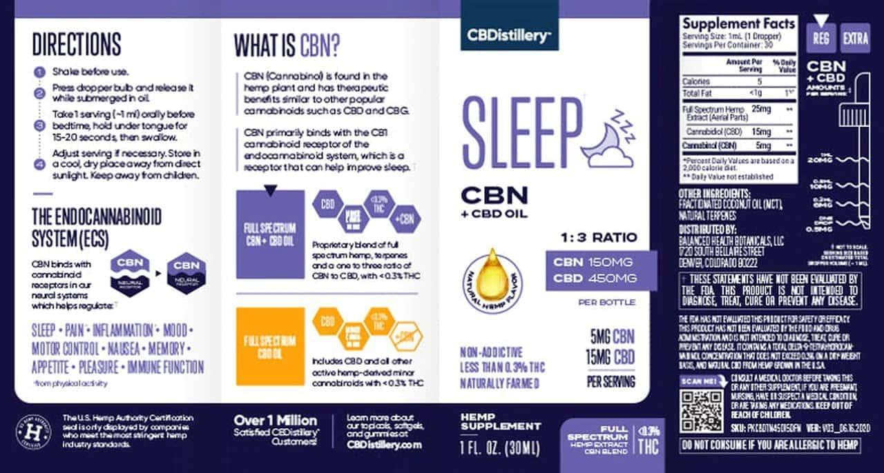 CBDistillery, CBN + CBD Sleep Tincture 1-3, Full Spectrum, 1oz, 150mg CBN and 450mg CBD3