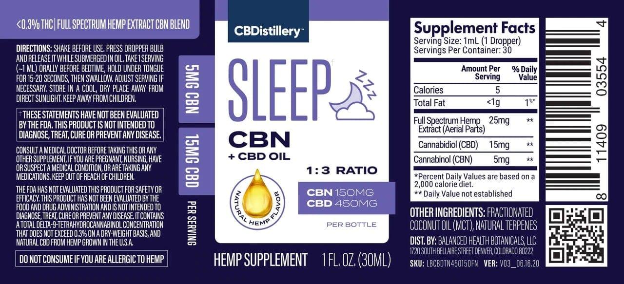 CBDistillery, CBN + CBD Sleep Tincture 1-3, Full Spectrum, 1oz, 150mg CBN and 450mg CBD4