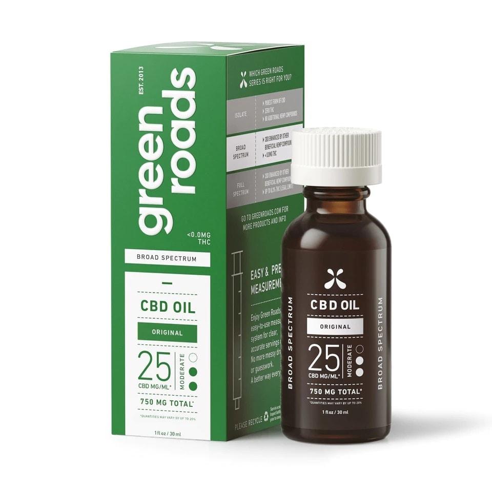 Green Roads, CBD Oil, Broad Spectrum THC-Free, Natural Flavor, 1oz, 25MG:ML, 750mg of CBD