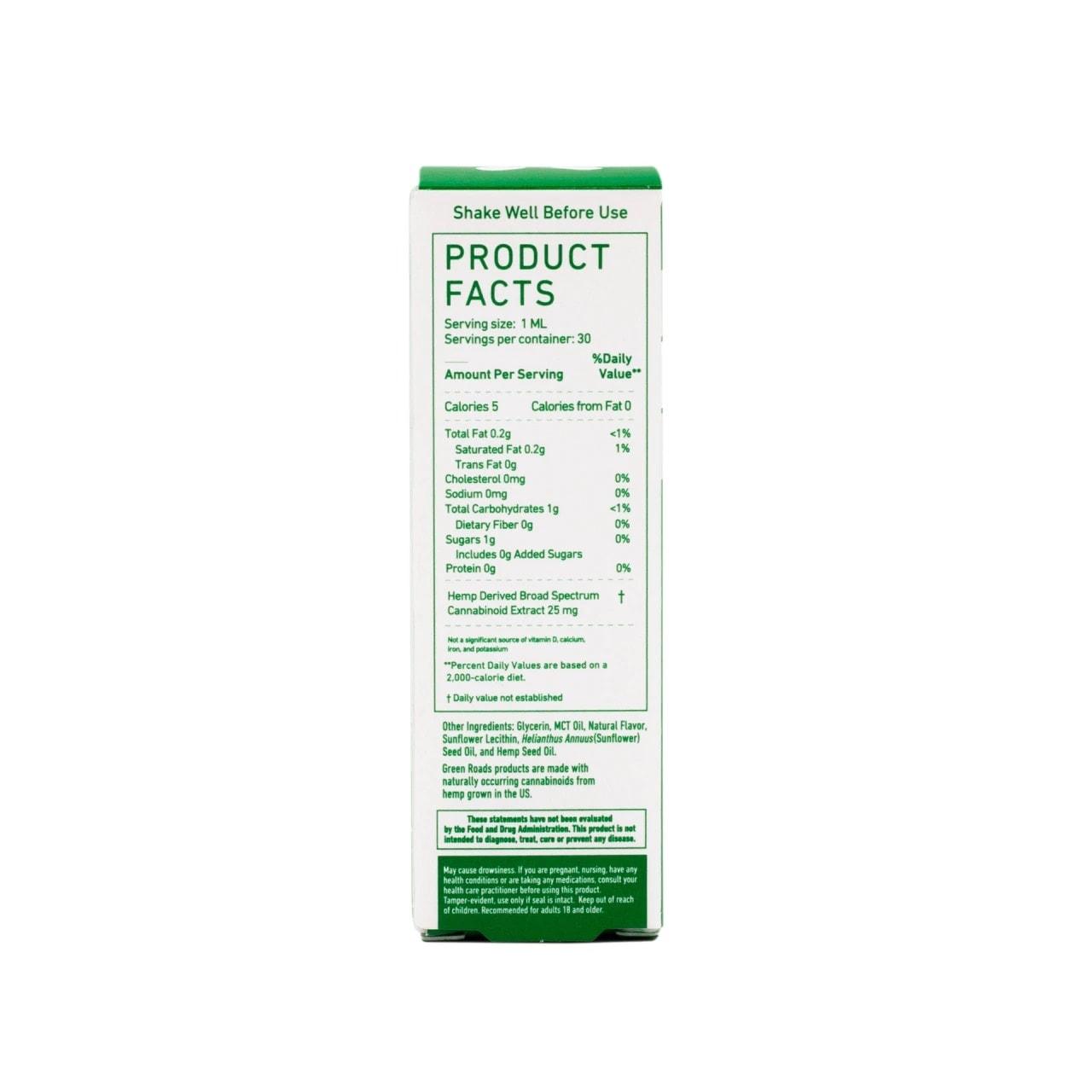 Green Roads, CBD Oil, Broad Spectrum THC-Free, Natural Flavor, 1oz, 25MG:ML, 750mg of CBD4