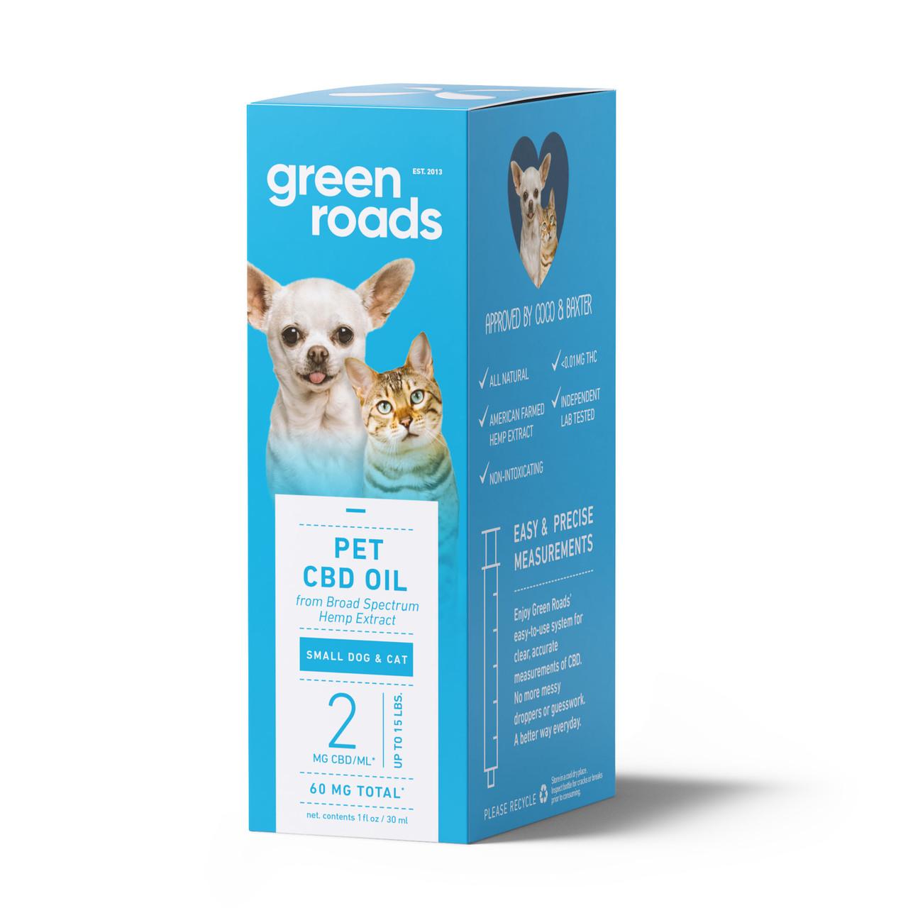 Green Roads, Pet CBD Drops Small Dog & Cat, Broad Spectrum, 1oz, 60mg of CBD 2