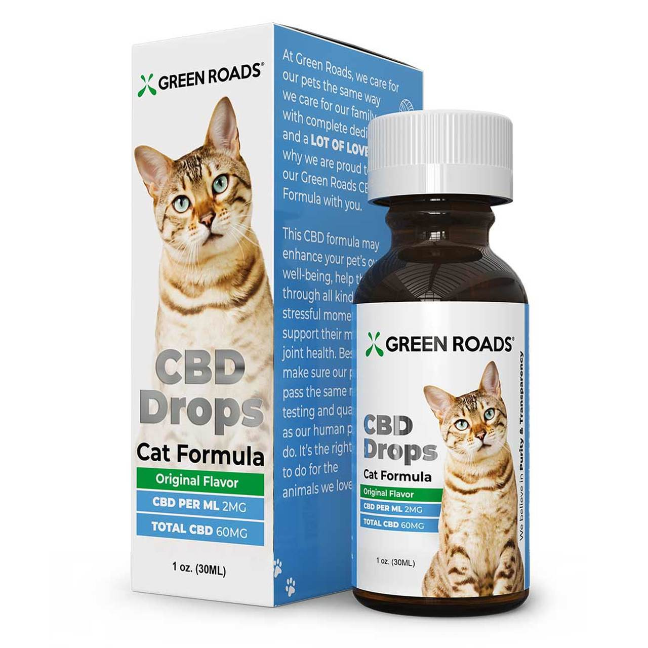 Green Roads, Pet CBD Oil Drops Cat, Broad Spectrum THC-Free, 1oz, 60mg of CBD