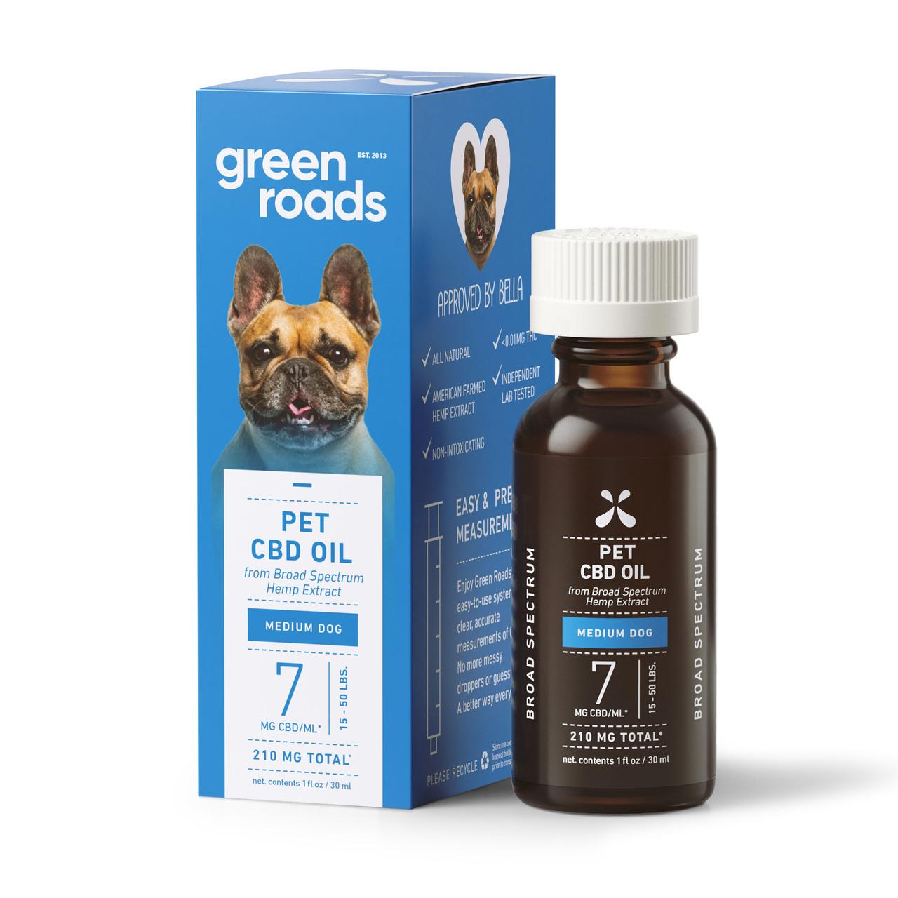 Green Roads, Pet CBD Oil Drops Medium Dog, Broad Spectrum THC-Free, 1oz, 210mg CBD 1
