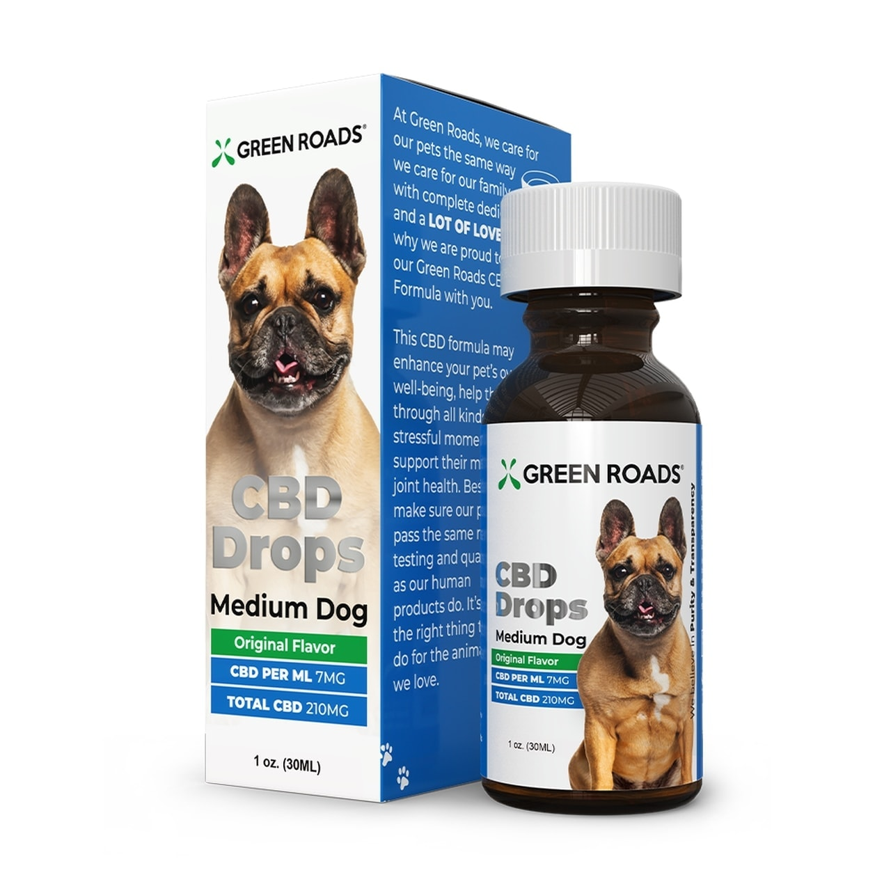 Green Roads, Pet CBD Oil Drops Medium Dog, Broad Spectrum THC-Free, 1oz, 210mg of CBD