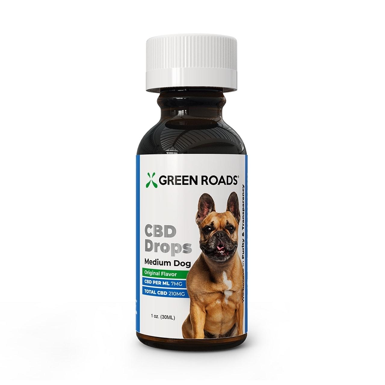 Green Roads, Pet CBD Oil Drops Medium Dog, Broad Spectrum THC-Free, 1oz, 210mg of CBD2