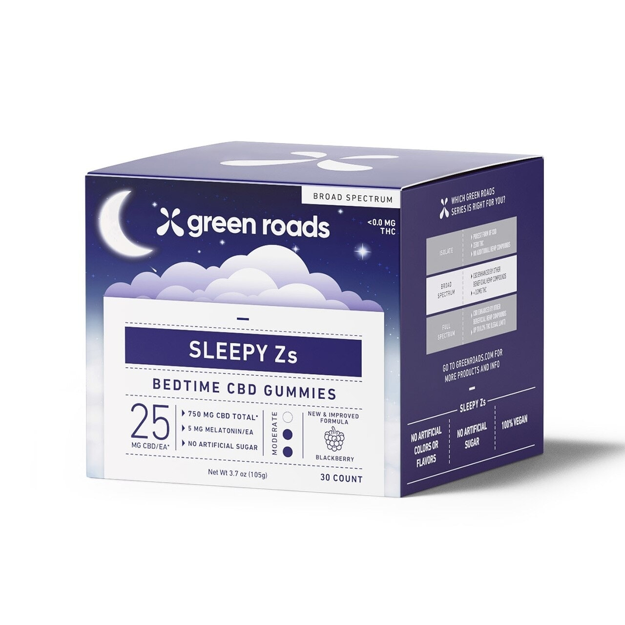 Green Roads, Sleepy Zs CBD Gummies with Melatonin, Broad Spectrum THC-Free, 30-Count, 750mg of CBD2