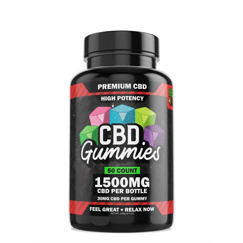 Hemp Bombs, High Potency CBD Gummies, 50-Count, 1500mg of CBD