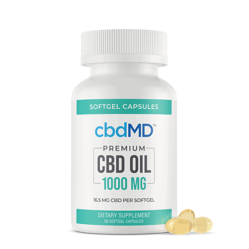 cbdMD, CBD Oil Softgel Capsules, Broad Spectrum THC-Free, 60-Count, 1000mg CBD 1