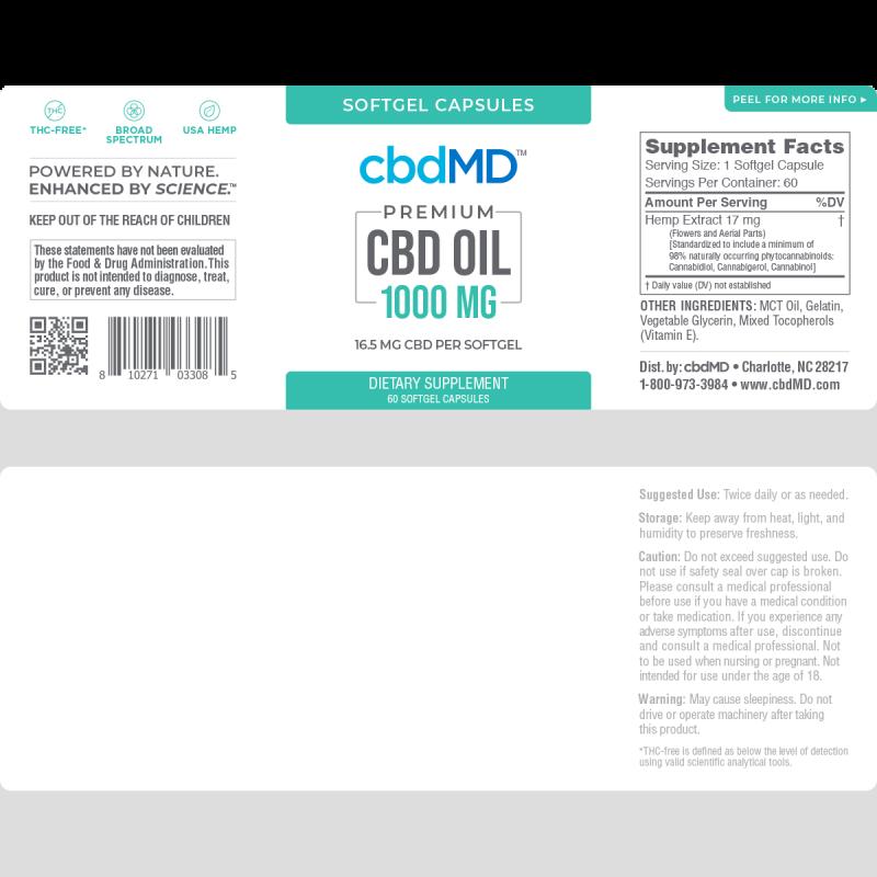 cbdMD, CBD Oil Softgel Capsules, Broad Spectrum THC-Free, 60-Count, 1000mg CBD 2