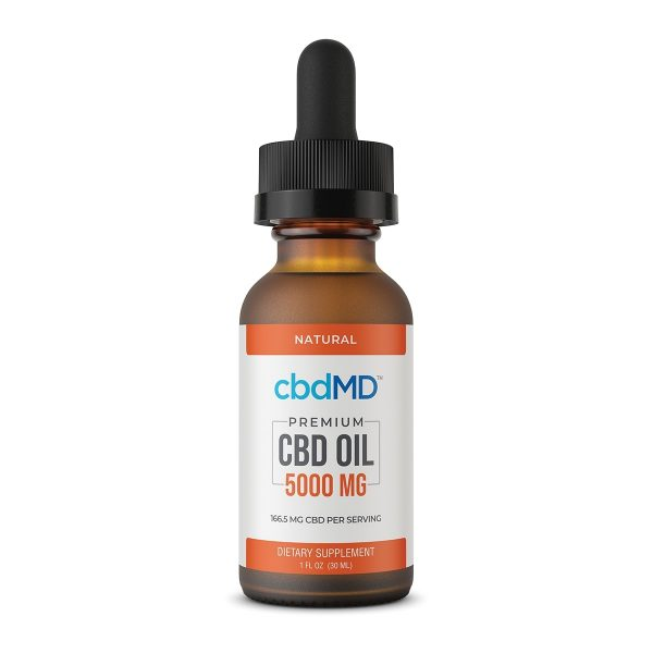 cbdMD, CBD Oil Tincture, Broad Spectrum THC-Free, Natural Flavor, 1oz, 5000mg of CBD