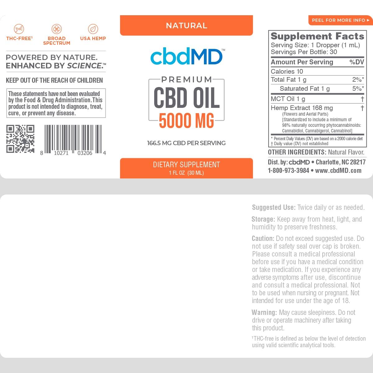cbdMD, CBD Oil Tincture, Broad Spectrum THC-Free, Natural Flavor, 1oz, 5000mg of CBD2