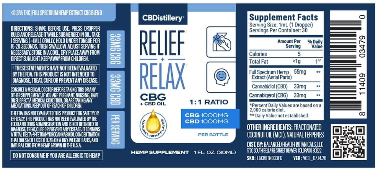 CBDistillery, CBG + CBD Oil Tincture 1-1, Full Spectrum, 1oz, 1000mg CBD and 1000mg CBG3