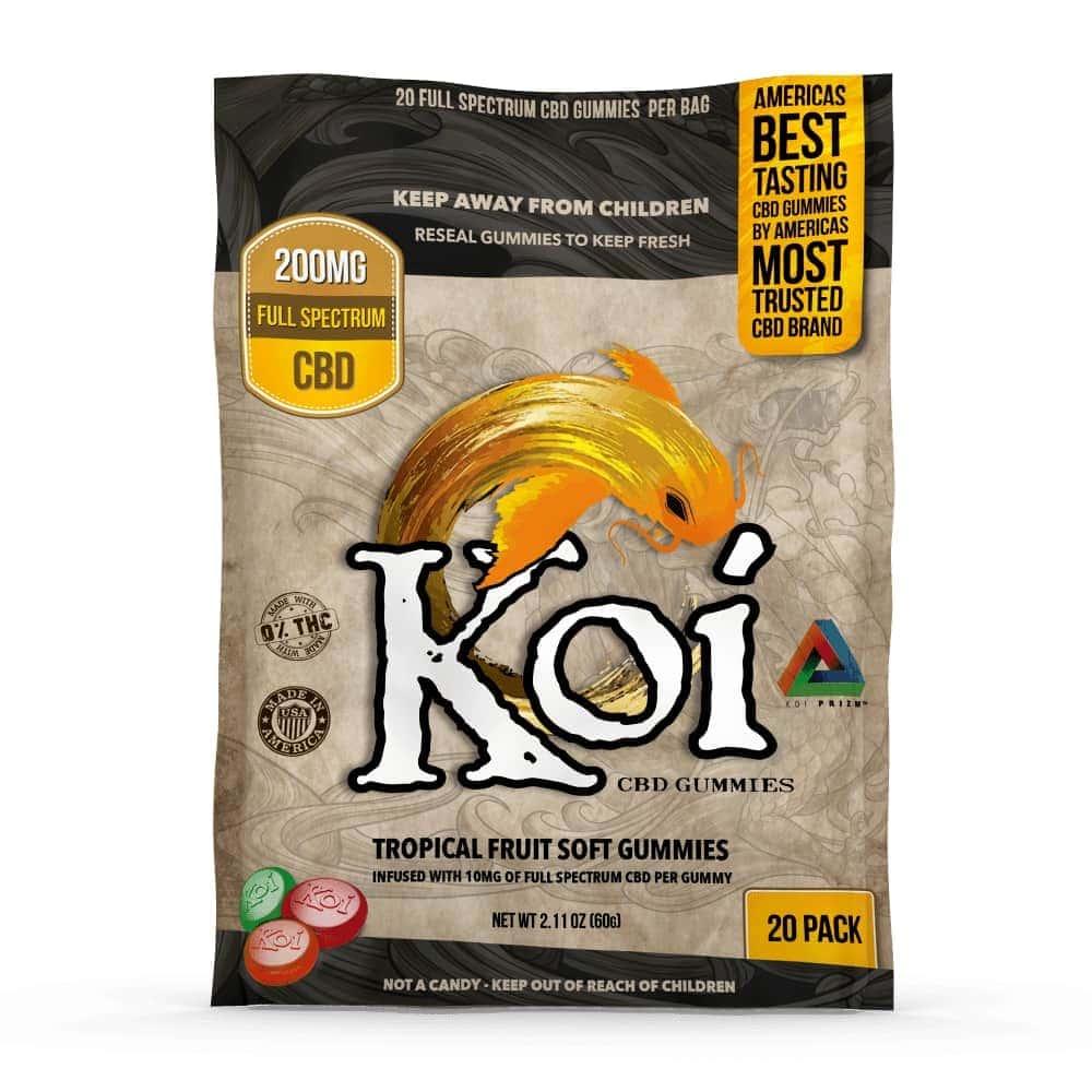 Koi CBD, CBD Gummies, Full Spectrum, Tropical Fruit, 20-count, 200mg of CBD