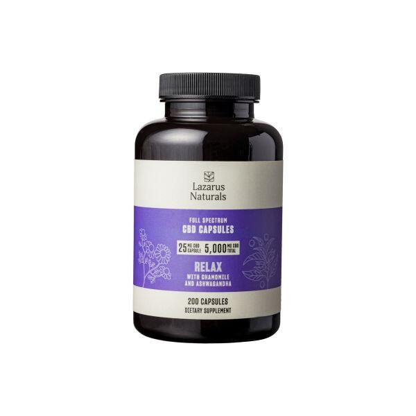 Lazarus Naturals, 25mg CBD Full Spectrum Capsules Relaxation Blend, 200 capsules, 5000mg CBD 1