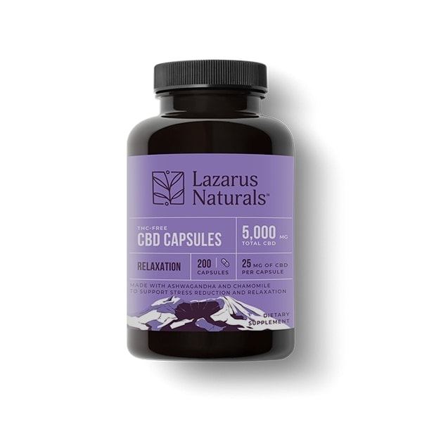 Lazarus Naturals, 25mg CBD Isolate Capsules Relaxation Blend, 200 capsules, 5000mg of CBD