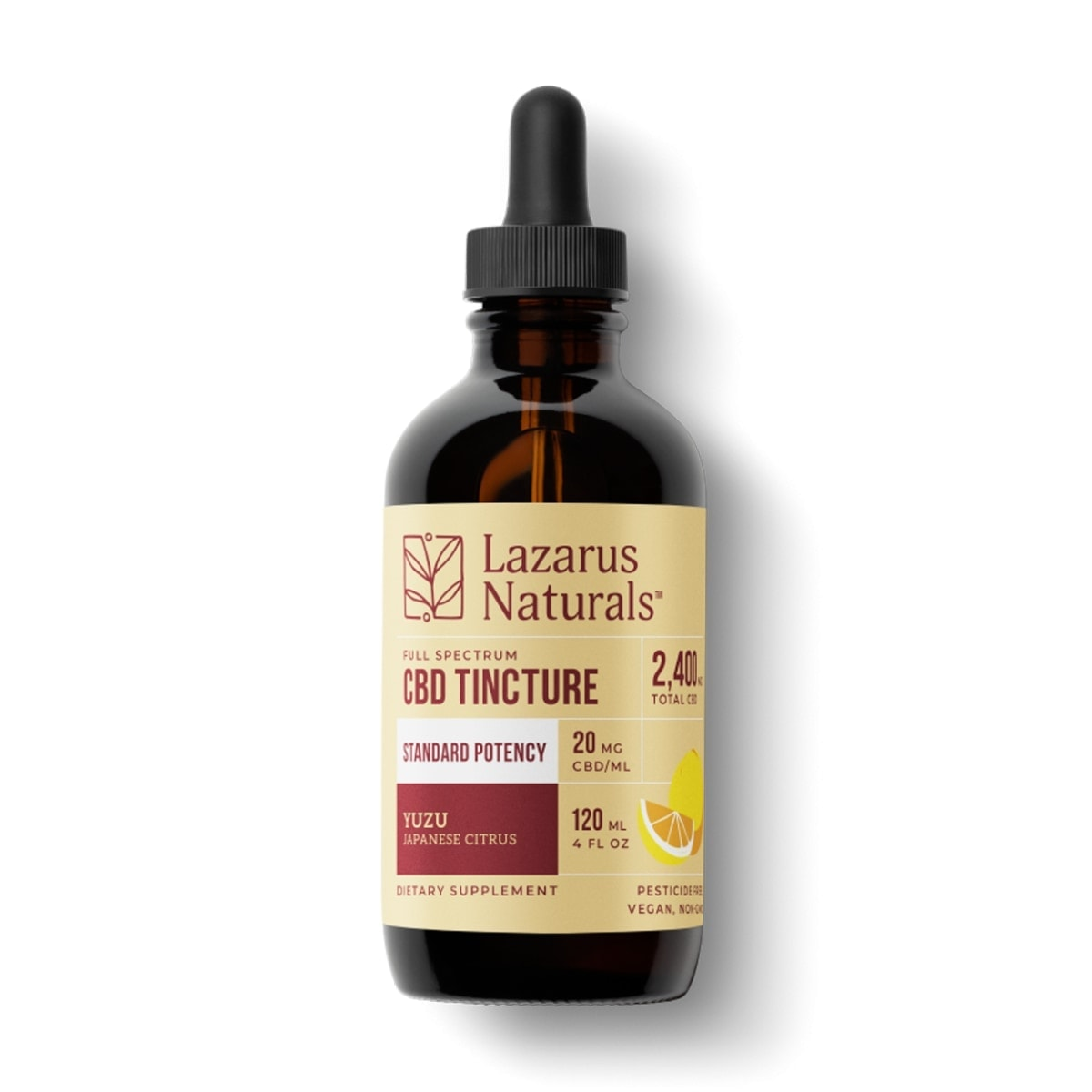 Lazarus Naturals, Yuzu Standard Potency CBD Tincture, Full Spectrum, Citrus, 4oz, 2400mg of CBD