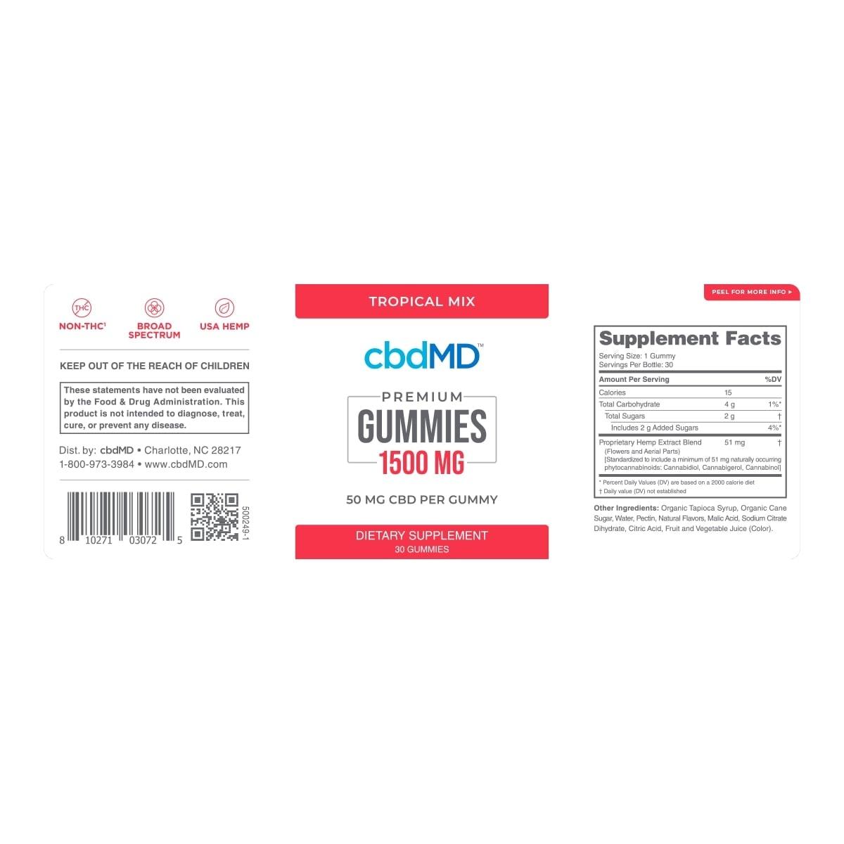cbdMD, CBD Gummies, Broad Spectrum THC-Free, 30-Count, 1500mg of CBD2