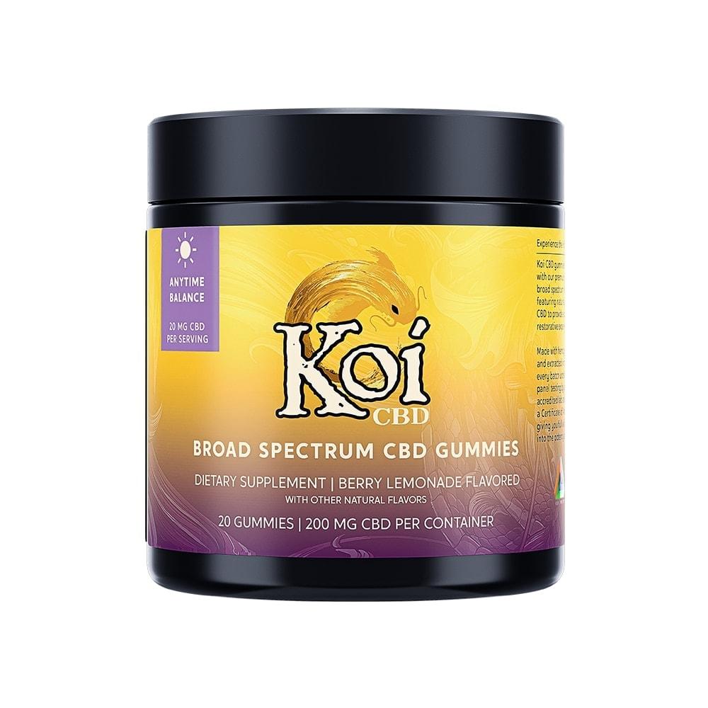 Koi CBD, CBD Gummies, Anytime Balance, Broad Spectrum, Berry Lemonade, 20-Count, 200mg of CBD