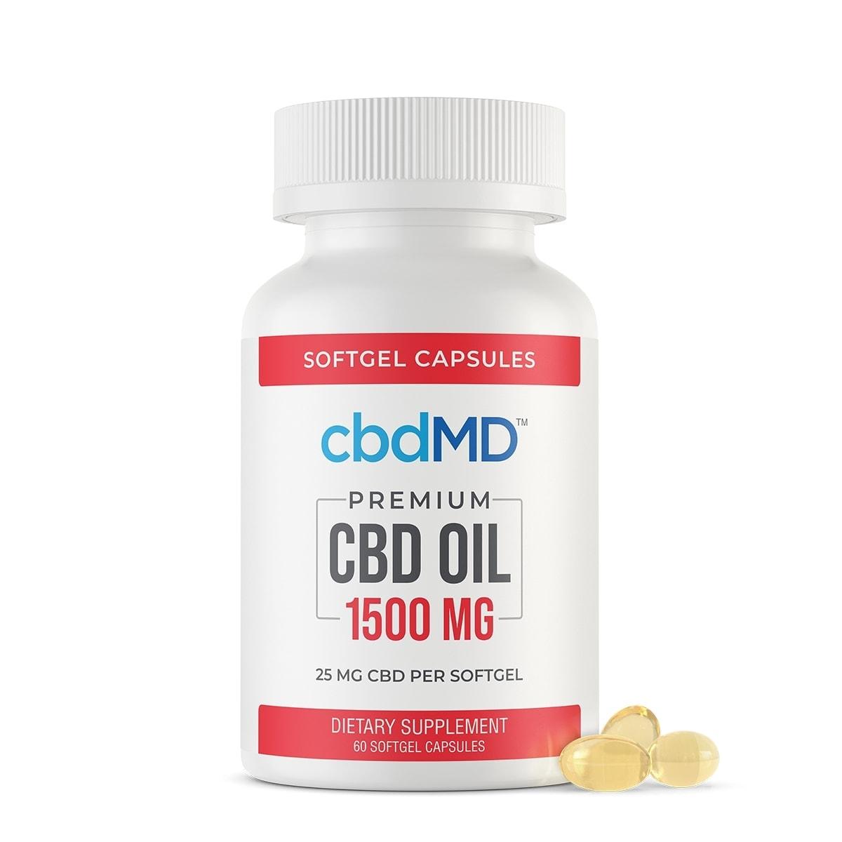 cbdMD, CBD Oil Softgel Capsules, Broad Spectrum THC-Free, 60-Count, 1500mg of CBD