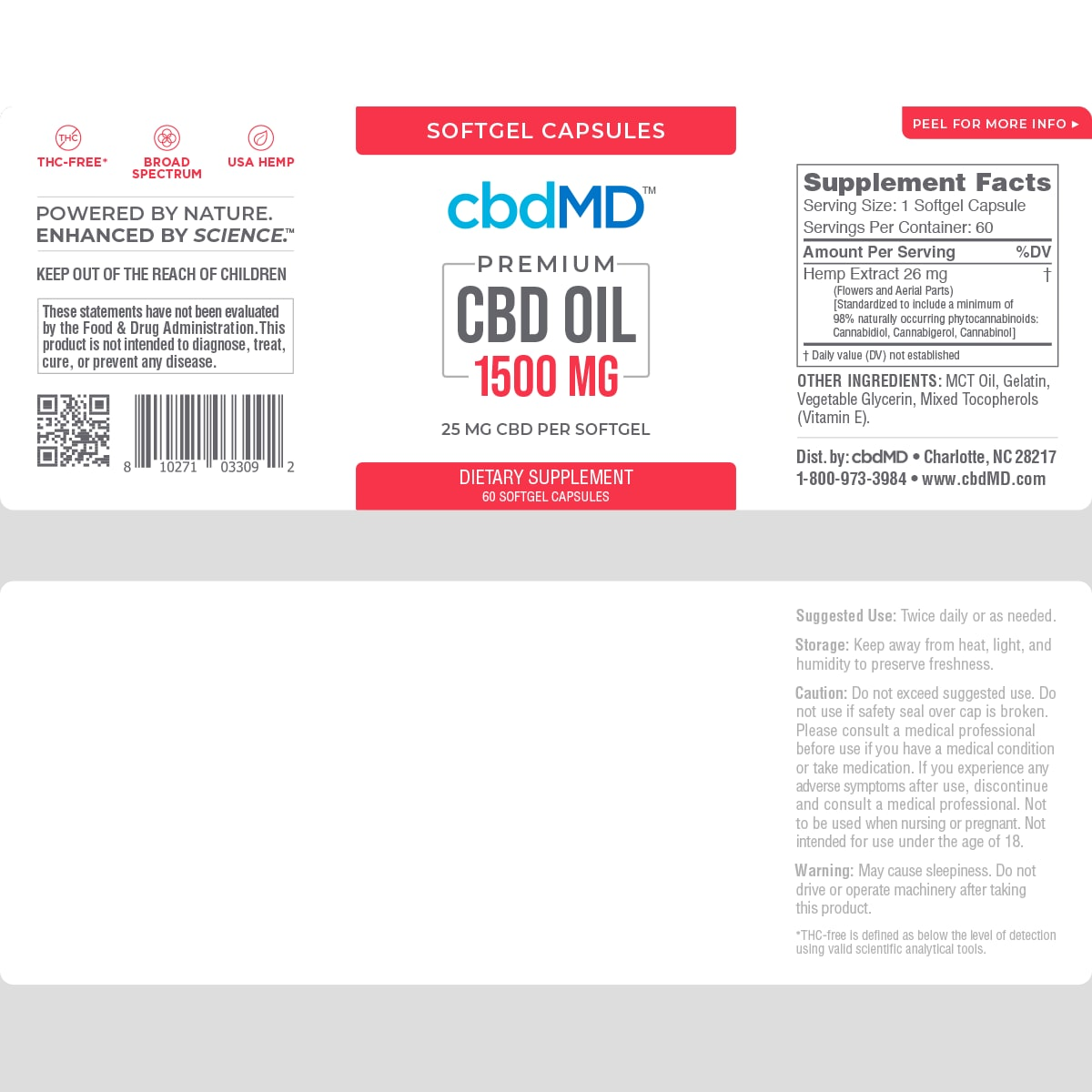 cbdMD, CBD Oil Softgel Capsules, Broad Spectrum THC-Free, 60-Count, 1500mg of CBD2