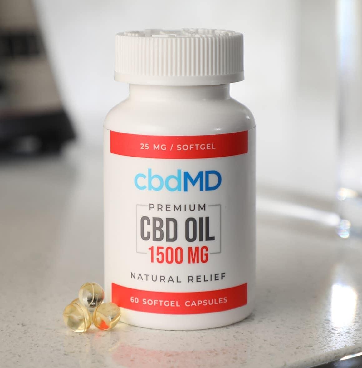 cbdMD, CBD Oil Softgel Capsules, Broad Spectrum THC-Free, 60-Count, 1500mg of CBD3