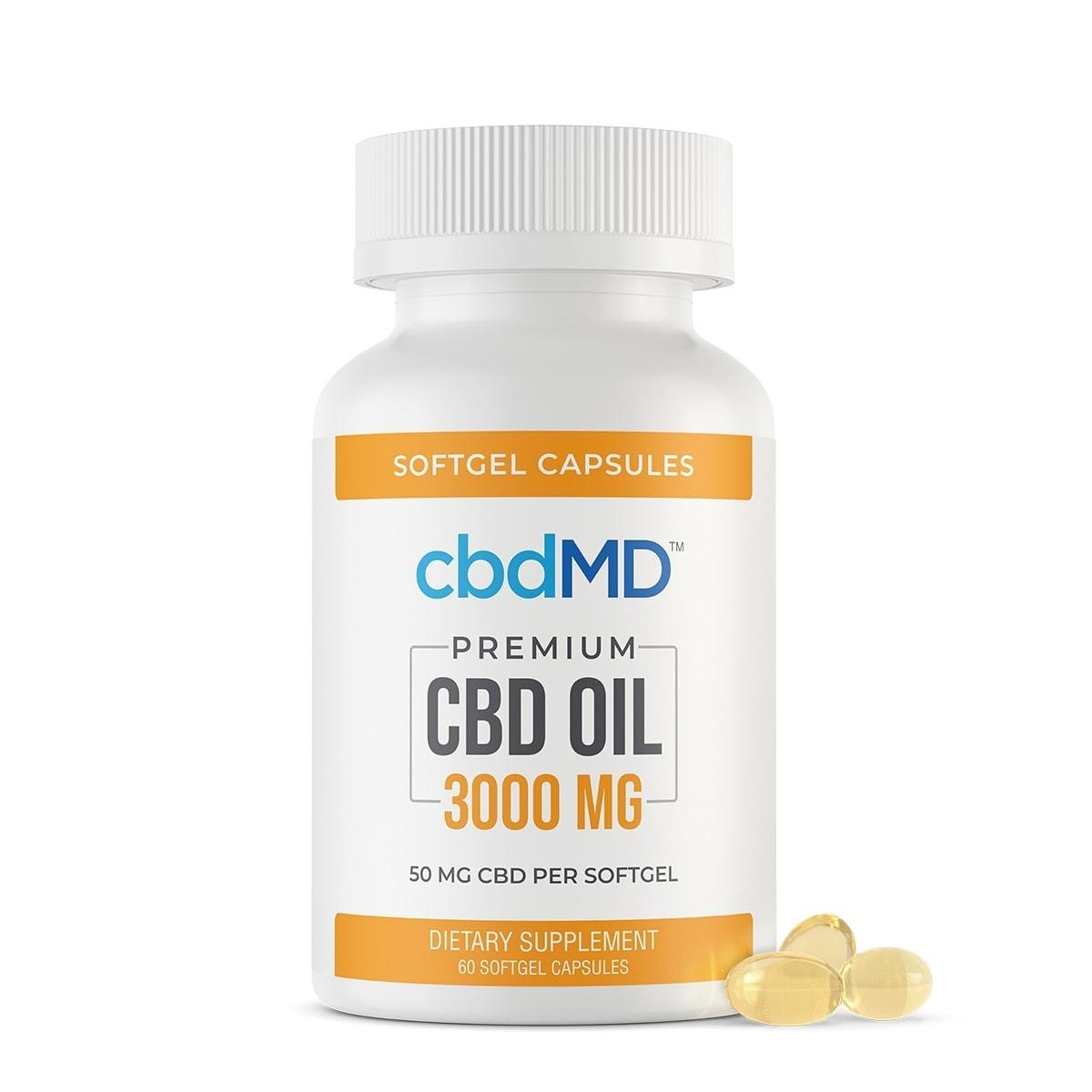 cbdMD, CBD Oil Softgel Capsules, Broad Spectrum THC-Free, 60-Count, 3000mg of CBD