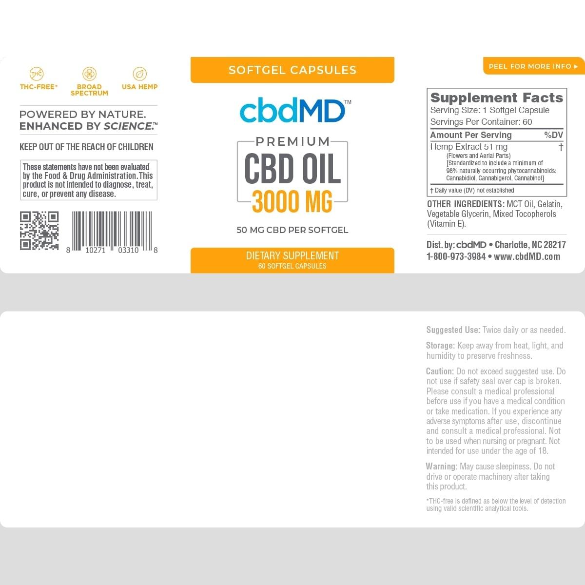 cbdMD, CBD Oil Softgel Capsules, Broad Spectrum THC-Free, 60-Count, 3000mg of CBD2