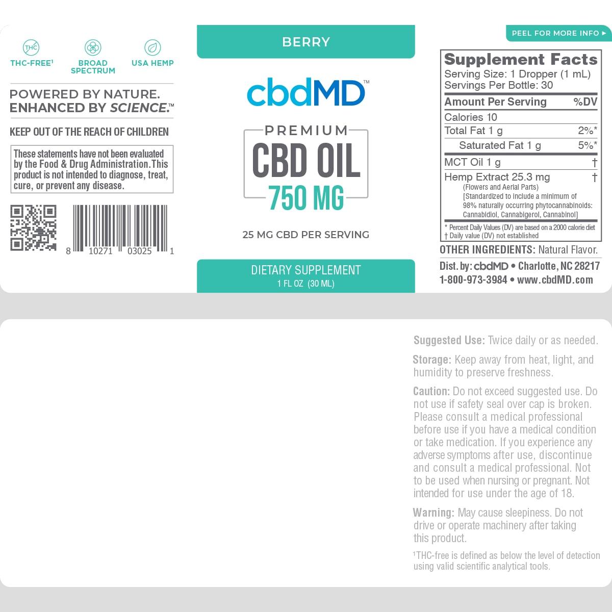 cbdMD, CBD Oil Tincture, Broad Spectrum THC-Free, Berry, 1oz, 750mg of CBD2