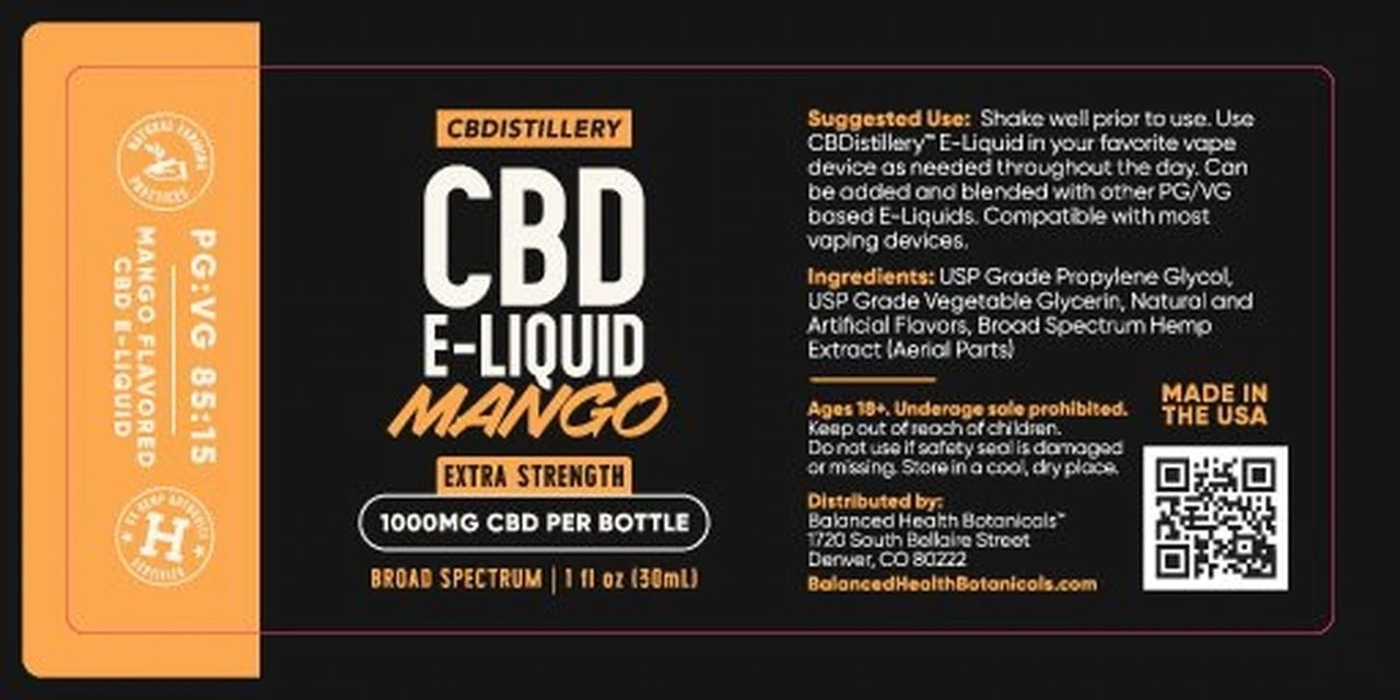 CBDistillery, Broad Spectrum CBD E-Liquid, Mango, THC-Free, 1000mg of CBD2