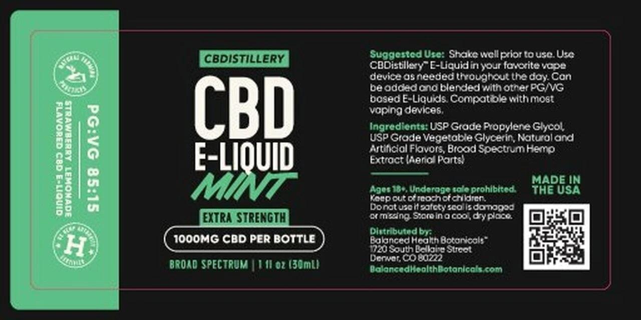 CBDistillery, Broad Spectrum CBD E-Liquid, Mint, THC-Free, 1000mg of CBD2